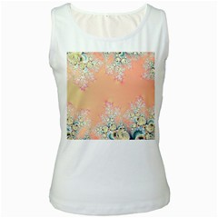 Peach Spring Frost On Flowers Fractal Women s Tank Top (White)