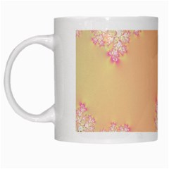 Peach Spring Frost On Flowers Fractal White Coffee Mug
