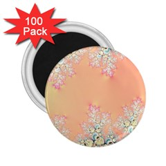 Peach Spring Frost On Flowers Fractal 2 25  Button Magnet (100 Pack)