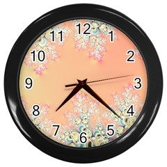 Peach Spring Frost On Flowers Fractal Wall Clock (Black)