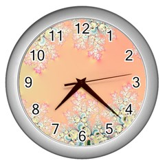 Peach Spring Frost On Flowers Fractal Wall Clock (silver)