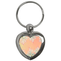 Peach Spring Frost On Flowers Fractal Key Chain (Heart)