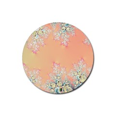 Peach Spring Frost On Flowers Fractal Drink Coasters 4 Pack (round)