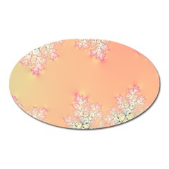 Peach Spring Frost On Flowers Fractal Magnet (Oval)