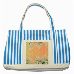 Peach Spring Frost On Flowers Fractal Blue Striped Tote Bag