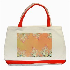 Peach Spring Frost On Flowers Fractal Classic Tote Bag (Red)