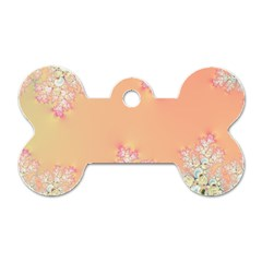 Peach Spring Frost On Flowers Fractal Dog Tag Bone (One Sided)
