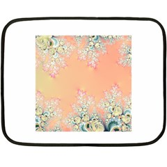 Peach Spring Frost On Flowers Fractal Mini Fleece Blanket (Two Sided)