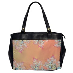 Peach Spring Frost On Flowers Fractal Oversize Office Handbag (one Side)