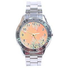 Peach Spring Frost On Flowers Fractal Stainless Steel Watch