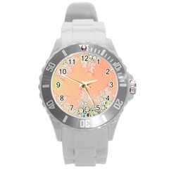 Peach Spring Frost On Flowers Fractal Plastic Sport Watch (large)