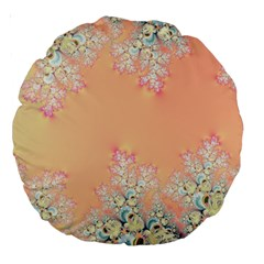 Peach Spring Frost On Flowers Fractal 18  Premium Round Cushion