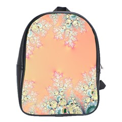 Peach Spring Frost On Flowers Fractal School Bag (xl)