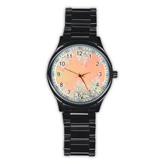 Peach Spring Frost On Flowers Fractal Sport Metal Watch (black)
