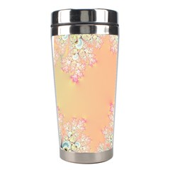 Peach Spring Frost On Flowers Fractal Stainless Steel Travel Tumbler
