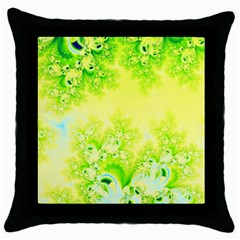 Sunny Spring Frost Fractal Black Throw Pillow Case