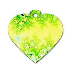 Sunny Spring Frost Fractal Dog Tag Heart (Two Sided)