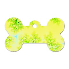 Sunny Spring Frost Fractal Dog Tag Bone (Two Sided)