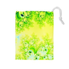 Sunny Spring Frost Fractal Drawstring Pouch (large)