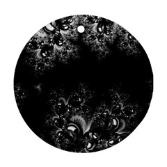 Midnight Frost Fractal Round Ornament
