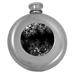 Midnight Frost Fractal Hip Flask (Round)