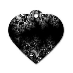 Midnight Frost Fractal Dog Tag Heart (Two Sided)