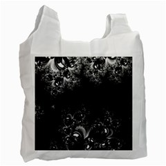 Midnight Frost Fractal White Reusable Bag (two Sides)