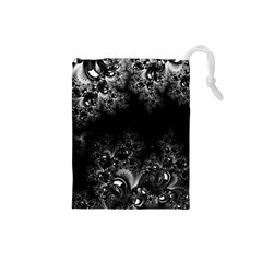 Midnight Frost Fractal Drawstring Pouch (Small)