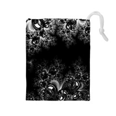 Midnight Frost Fractal Drawstring Pouch (large)