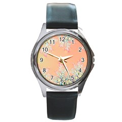 Peach Spring Frost On Flowers Fractal Round Leather Watch (silver Rim)