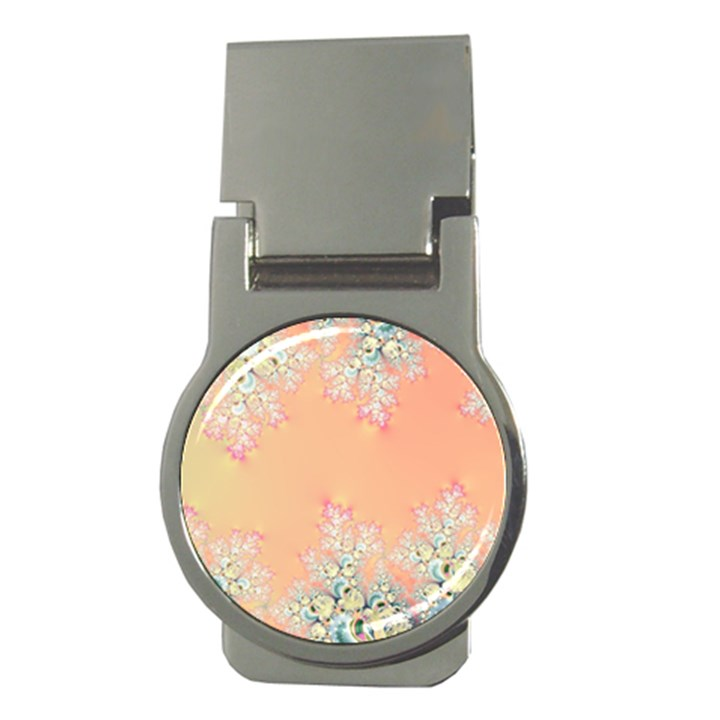 Peach Spring Frost On Flowers Fractal Money Clip (Round)