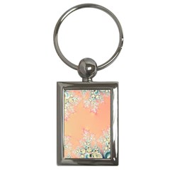 Peach Spring Frost On Flowers Fractal Key Chain (rectangle)