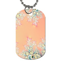 Peach Spring Frost On Flowers Fractal Dog Tag (Two-sided)