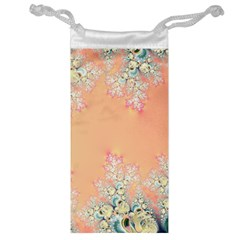 Peach Spring Frost On Flowers Fractal Jewelry Bag