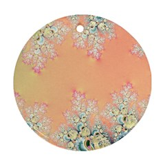 Peach Spring Frost On Flowers Fractal Round Ornament (two Sides)