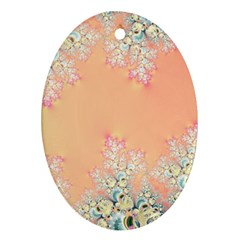 Peach Spring Frost On Flowers Fractal Oval Ornament (Two Sides)