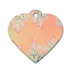 Peach Spring Frost On Flowers Fractal Dog Tag Heart (one Sided)
