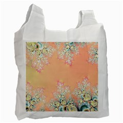 Peach Spring Frost On Flowers Fractal White Reusable Bag (two Sides)