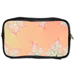 Peach Spring Frost On Flowers Fractal Travel Toiletry Bag (two Sides)