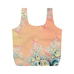 Peach Spring Frost On Flowers Fractal Reusable Bag (m)