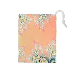 Peach Spring Frost On Flowers Fractal Drawstring Pouch (medium)