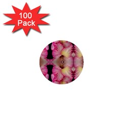 Pink Gladiolus Flowers 1  Mini Button (100 Pack)