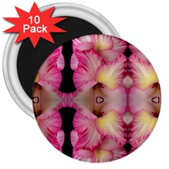 Pink Gladiolus Flowers 3  Button Magnet (10 pack)