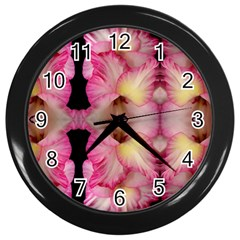 Pink Gladiolus Flowers Wall Clock (Black)