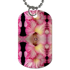 Pink Gladiolus Flowers Dog Tag (two Sided)