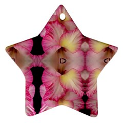 Pink Gladiolus Flowers Star Ornament (Two Sides)