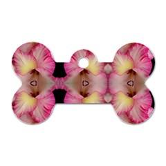 Pink Gladiolus Flowers Dog Tag Bone (two Sided)
