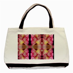 Pink Gladiolus Flowers Twin-sided Black Tote Bag