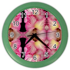 Pink Gladiolus Flowers Wall Clock (Color)