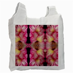 Pink Gladiolus Flowers White Reusable Bag (Two Sides)